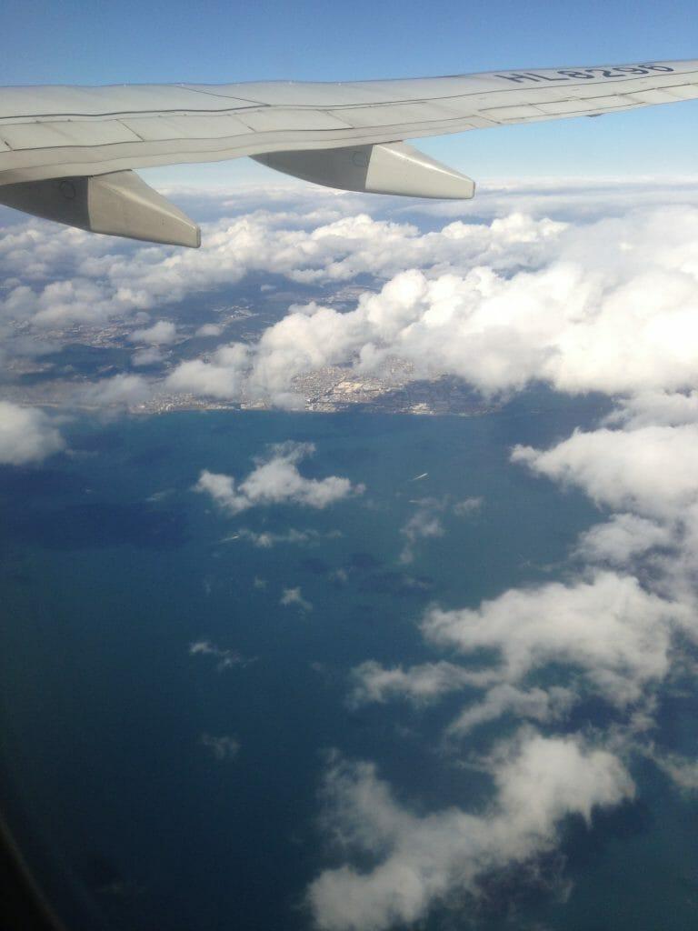 仁川行きの飛行機の中